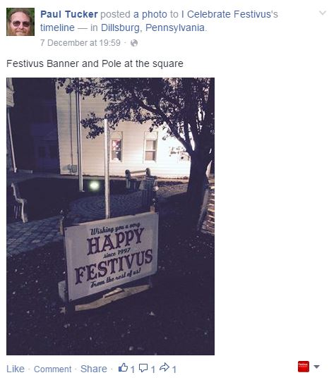 Paul Tucker posted a photo to I Celebrate Festivus's timeline showing the Festivus Banner and Pole at the square in Dillsburg, Pennsylvania.  Plenty of Festivus Spirit there!