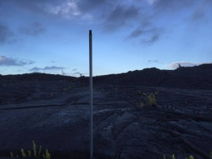 Festivus pole at the Kalapana lava field in Hawaii