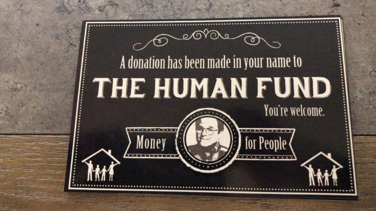 human fund donation card