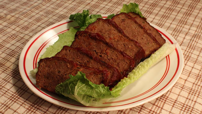 Festivus meatloaf, placed on a bed of lettuce (a la Estelle Costanza).